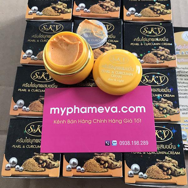 Kem Trị Mụn Thâm Pearl & Curcumin Cream SKY Nghệ Ngọc Trai Thái Lan